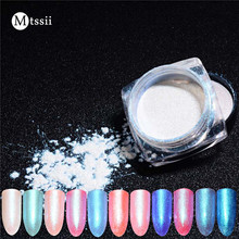 Mtssii 1 Box Diamond Pearl Mermaid Powder 1g Shining White Nail Art Glitter Powder Dust DIY Nail Decoration Pigment
