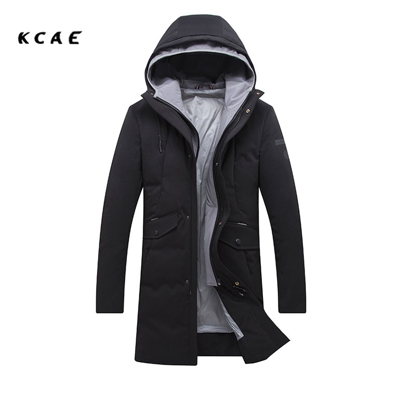 2017 Winter coat Korean version of the self-cultivation hooded thick long jacket  Men's jacket Double zipper Black jacket 2017 korean version of the thickening of female workers in the long coat lambskin coat winter coat large size coat