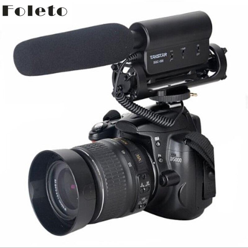 Foleto TAKSTAR SGC-Pistola Spara A Condensatore Microfono di Registrazione Per Nikon D7100 D5200 D3200 D80 D600 D800E D7000 D90 D5100 D3100