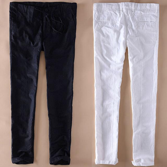 Ultra Fina Del Verano Ocasional Flojo Blanco Negro Hombres Pantalones De Lino Con Cordón Pantalones de Playa Más Tamaño Diseño Delgado Recto