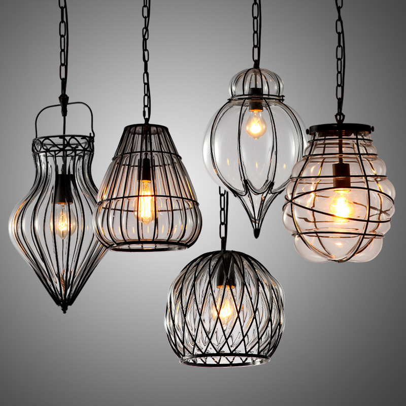 American retro glass pendant light single head iron cage restaurant bar cafe hanging light lamp