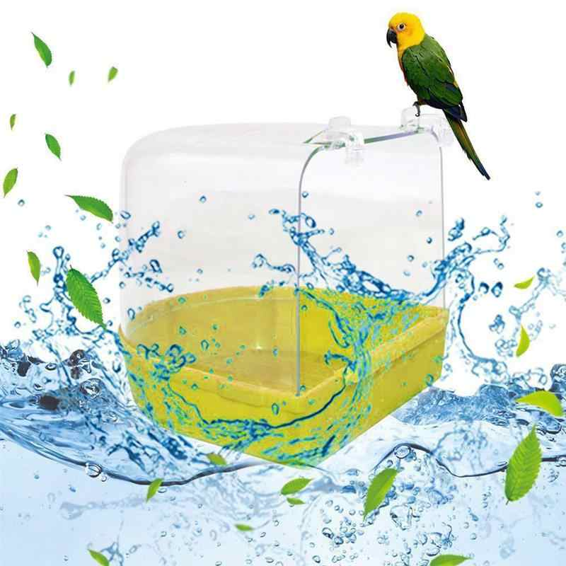 2019 new Bird Bath Bathtub Bath Box Bird Cleaning Tool Cage Accessories Parrot Bath Transparent Plastic Hanging Tub Shower