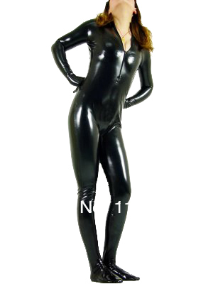 Sexy Black Shiny Metallic Zentai Tights for Woman
