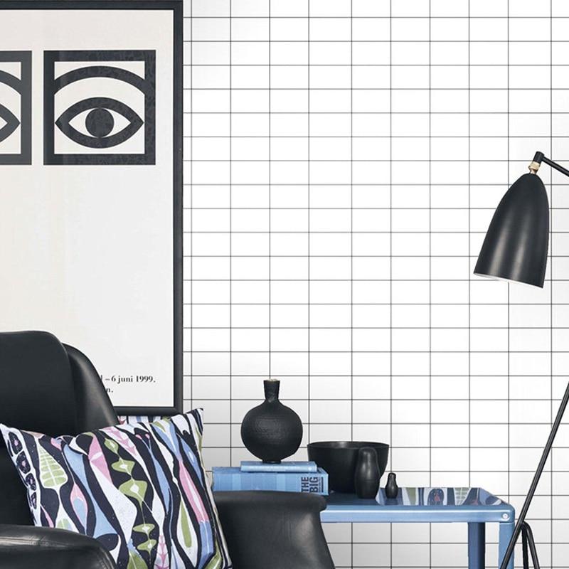 Купить с кэшбэком Nordic Lattice Wall papers home decor non woven geometric wallpaper roll for living room bedroom Wallls mural Contact Paper