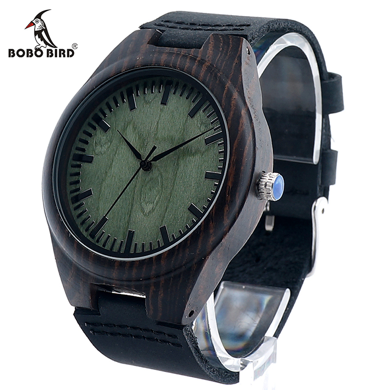 BOBO BIRD Mens Green Wood Face Wooden Bamboo Watches Luxury Wooden Bamboo Watches With Leather Quartz Watch With Bamboo Box 2017 bobo bird v o29 top brand luxury women unique watch bamboo wooden fashion quartz watches