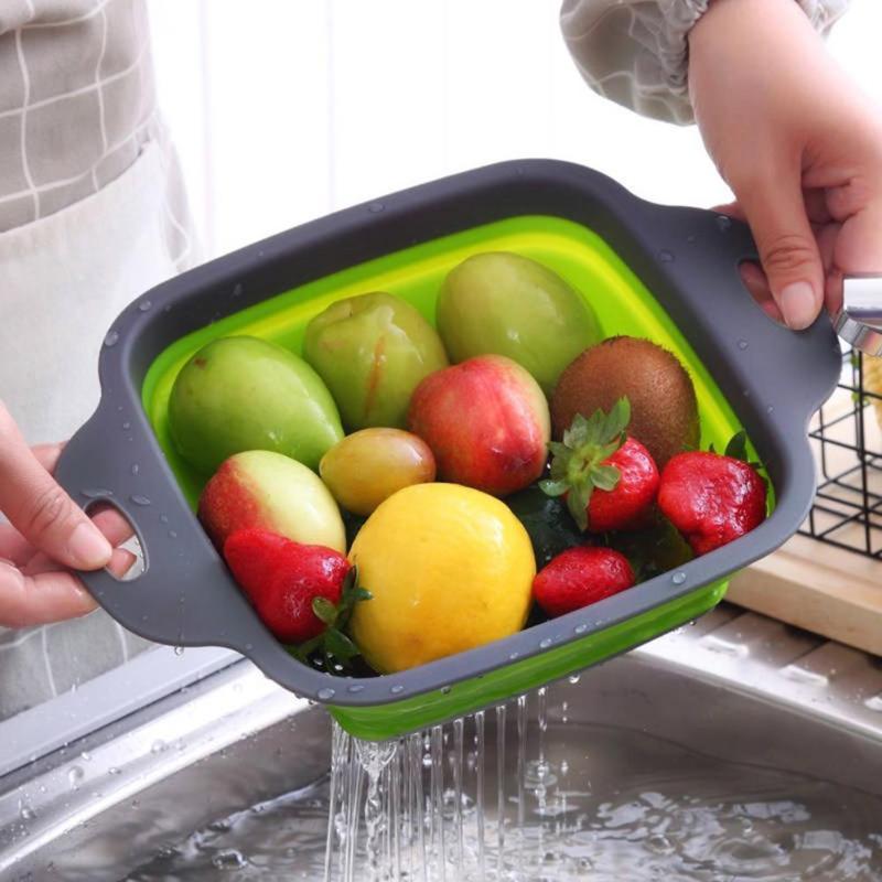 1 PCS Fruit Vegetal de Cozinha Coador de Silicone Dobrável Cesta Dreno Retrátil Cesta Chorume Frutas Legumes Cesto de Lavagem