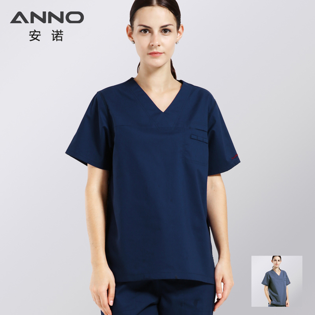 c544e85c8bc Navy Blue Gray Cotton Height Quality Medical Scrubs Surgery Clothing Nurse  Uniform For WomenMan Medical Clothing Shirt Pant