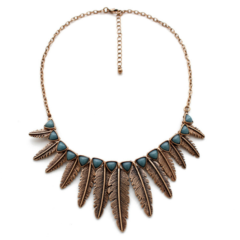 Fashion Jewelry Ethic Bohemian Double Style Alloy Leaves Necklace Several Size Vintage Metal Leaves with Stone Leaves for Women