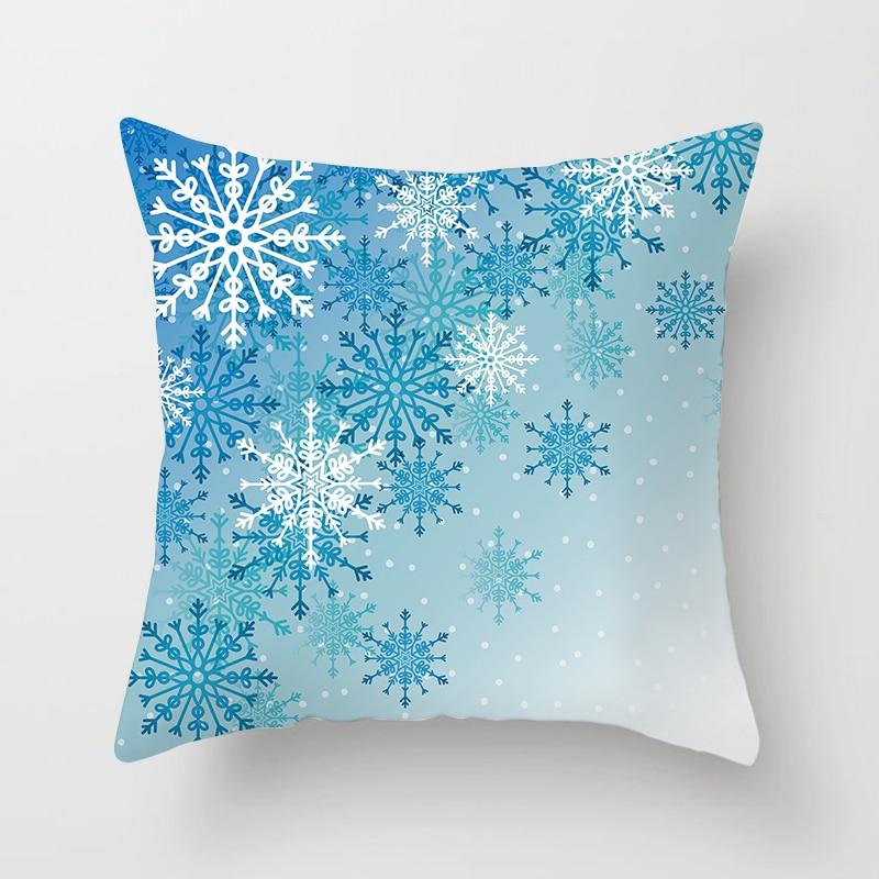1 Pc Weihnachten Schneeflocke Digital Print Geometrische Dekorative Kissenbezüge Polyester Werfen Kissen Fall Gestreiften Geometrische Kissenbezug