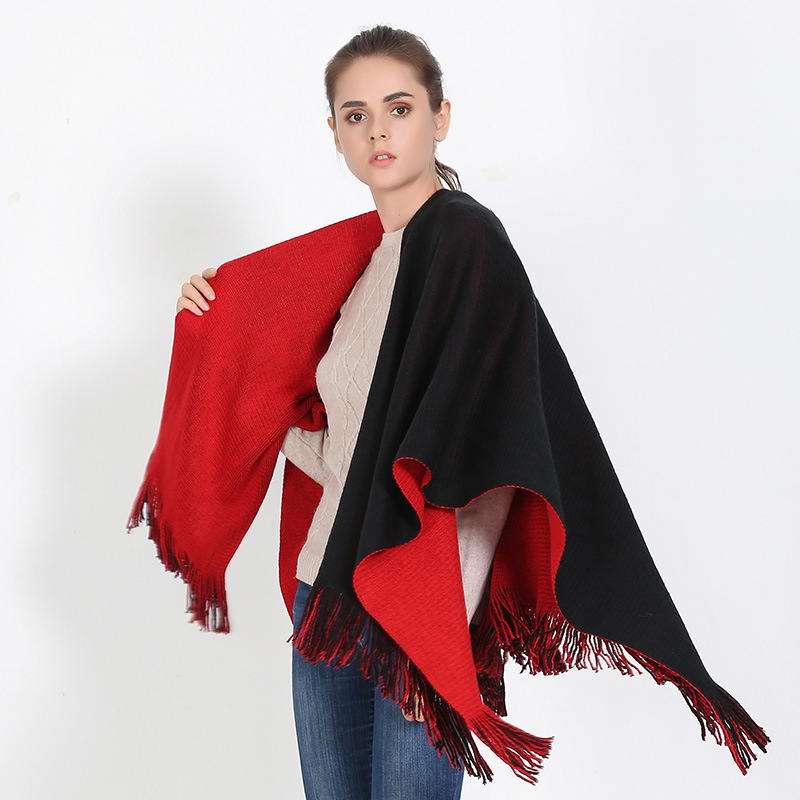 Split šal crni crveni kašmir kaiš lijepi šal za zimske žene šal - Pribor za odjeću - Foto 2