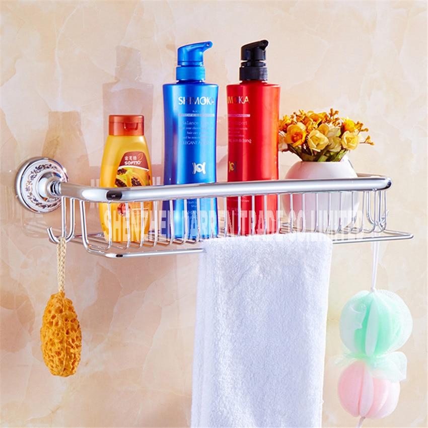 Cuivre Antique laiton bleu et blanc porcelaine salle de bain à un niveau salle de bain Rack de rangement mural étagère de salle de bain offre spéciale