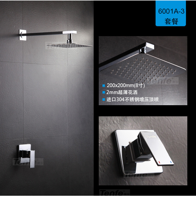 Concealed  Shower Set.Concealed Shower Faucets.8 inch Ultra-Thin Rainfall Square Shower Head,Bath Tap Mixer SS-004