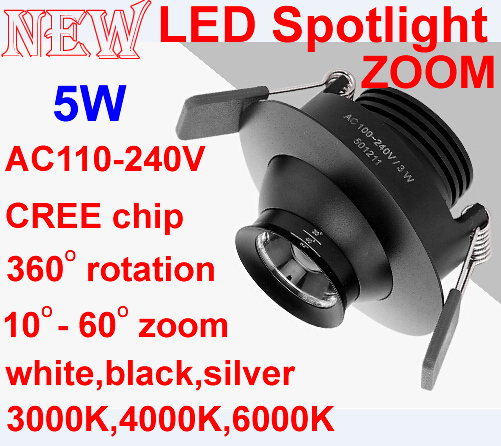 LED downlight 360 degree rotation Zoom,5W cree chip,Showcase,Museum cabinets,Backdrop lights,Led spot light,3000K 4000K 6000K
