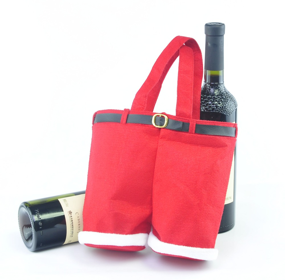 2pcs Clothing Trousers Red Wine Soft Christmas Bottle Cover For Home Decoration Sets In Stockings Gift Holders