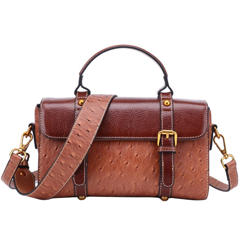 Ostrich Grain Portable Genuine Leather Package Ma'am Head Cowhide Single Shoulder Span Package Ancient Ways Postman Package cnc milling tool smp01 100 4 a27 sn12 10 with 10pcs xseq1202 carbide milling inserts indexable face and side milling head