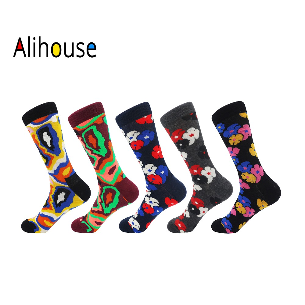 Alihouse Men Socks Happy Socks 5 Pairs/lot Novelty Colorful Flowers Pattern Combed Cotton Casual Dress Wedding Crew Socks Men