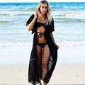 Nueva europa y américa gasa lace dress sexy dress vacaciones de playa de protección solar ropa de protección solar femenina blusa
