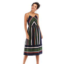 Women Summer Dress Fashion Stripe Print Sling Sexy Sleeveless Casual Temperament Dresses Vestido
