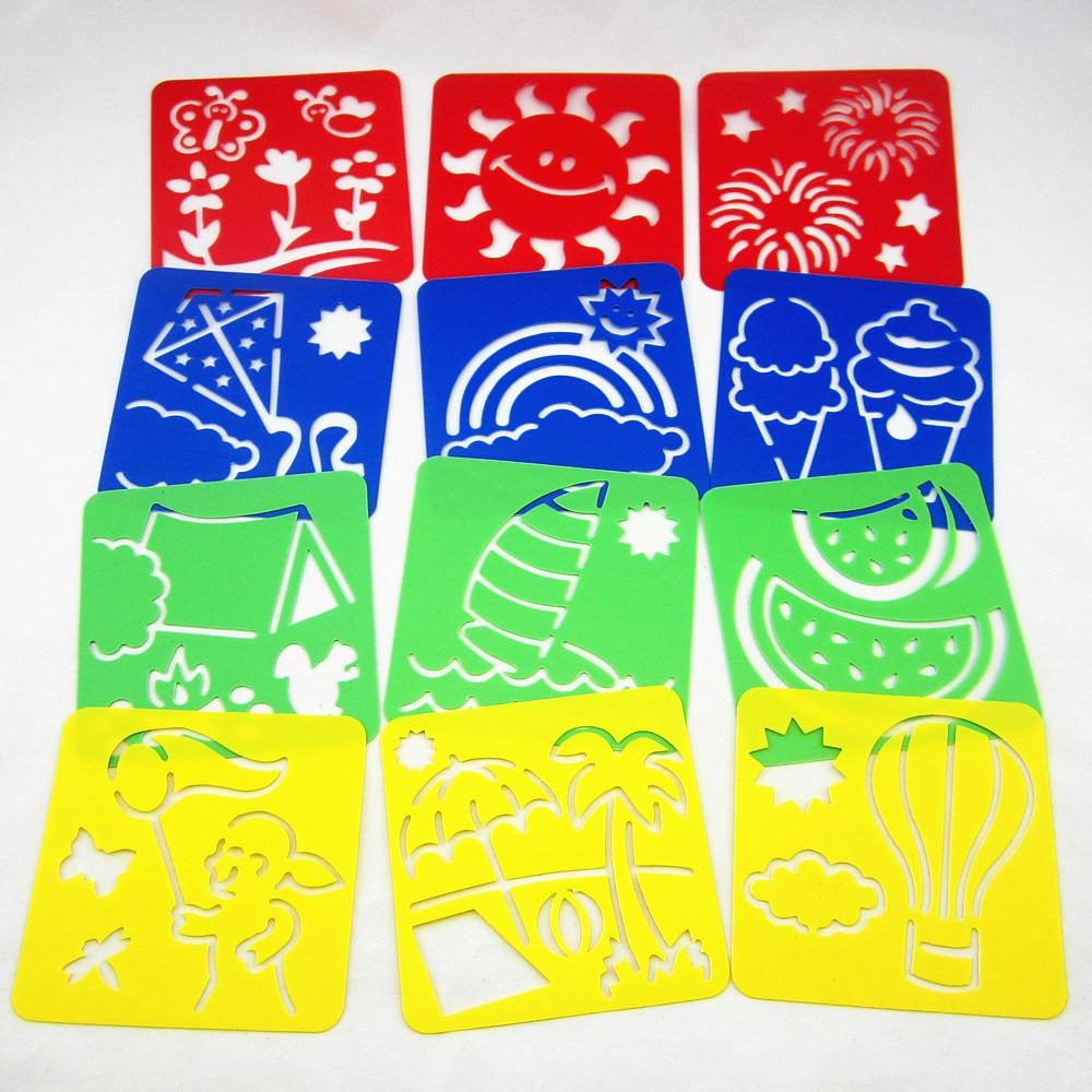 12Designs / set Sommer-Schablonen zum Malen Kinder Zeichnungsvorlagen Kunststoff-Boards Baby hot Spielzeug für Kinder Waschbar 128x128mm