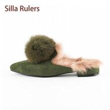 Фотография Silla Rulers Fur Slipper Women Rabbit Fur Pom Pom Pointed Toe Flock Lady Winter Mules Sandal Warm Luxury Designer Style Slipper