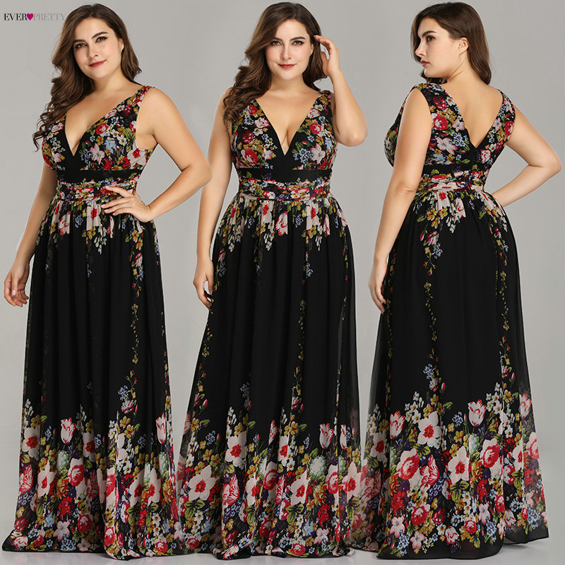 Sexy Double V-neck Sleeveless Black Long Flower Print Chiffon Formal Evening Dress 2019 Ever Pretty EP09016 Formal Gowns