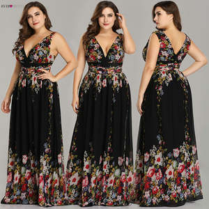 Evening-Dress Formal-Gowns Ever Pretty EP09016 Black Flower-Print Sexy Long Sleeveless