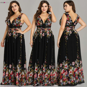 Image 1 - Sexy Double V neck Sleeveless Black Long Flower Print Chiffon Formal Evening Dress 2020 Ever Pretty EP09016 Formal Gowns