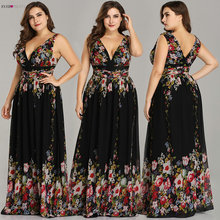 Sexy Dubbele V hals Mouwloze Zwarte Lange Bloemenprint Chiffon Avondjurk 2020 Ooit Pretty EP09016 Formele Gowns