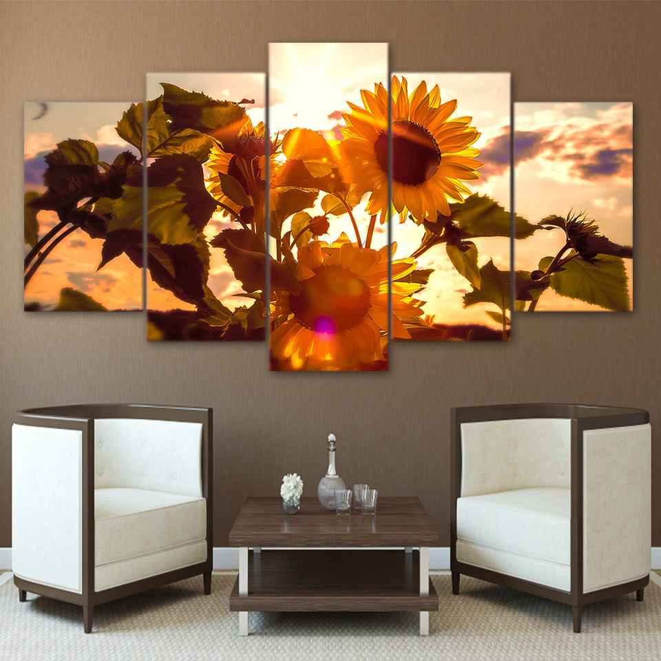Art Canvas Painting Style Wall Modular 5 Pieces Plant Sunflower Pictures For Living Room Cuadros Modern Framework Decoration