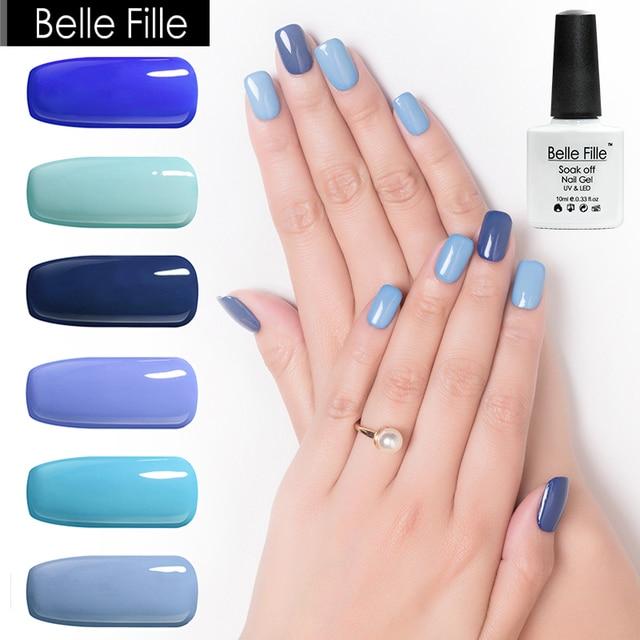 BELLE FILLE Blue Gel Nail Polish 10ml UV Gel Polish Soak Off 12 ...