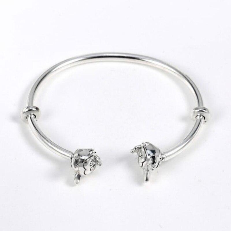 925 argent sterling Europe et les états-unis nouveau Bracelet de base bricolage femmes bijoux Mickey Minnie Bracelet ouvert