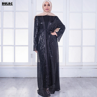 Fall Middle East Muslim Women Fashion O Neck Long Sleeve Loose Bling Maxi Cardigan Party Long Dress Eid Retro Robe Gown No Hijab