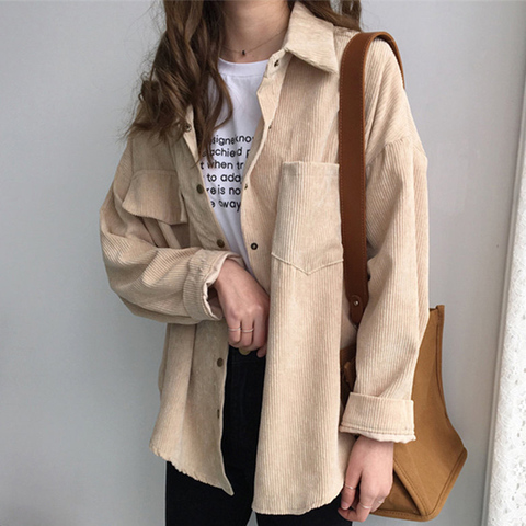 2019 Korean Long Sleeve Solid Jackets Outwear Spring Autumn Women Loose Jackets Casual Pocket Corduroy Jackets kz602 Multan