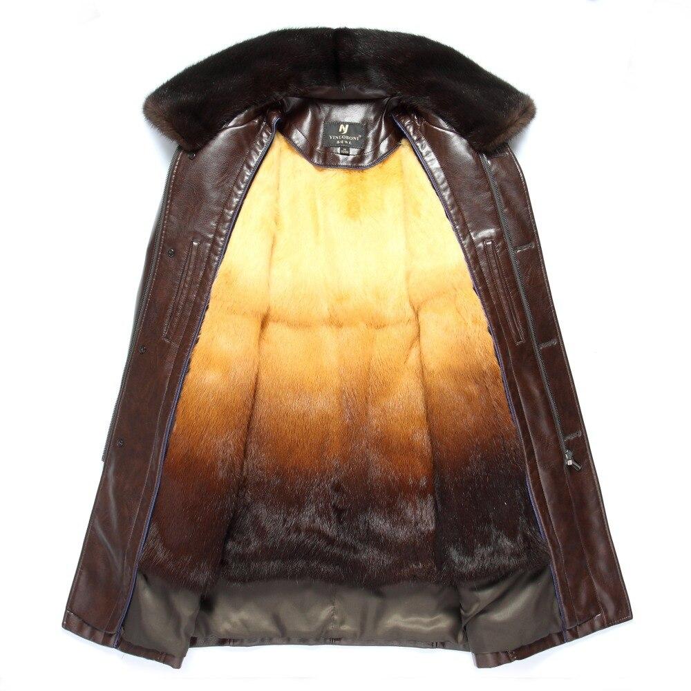 Inverno Addensare Pelle PU Cappotto Degli Uomini Lungo Tratto Casuale gira giù il Collare di Cuoio Del Cappotto Caldo del Rivestimento del Cappotto - 4
