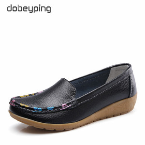Image 2 - dobeyping Slip On Womens Loafers Spring Autumn Shoes Woman Genuine Leather Flats Women New Female Moccasins Shoe Big Size 35 41