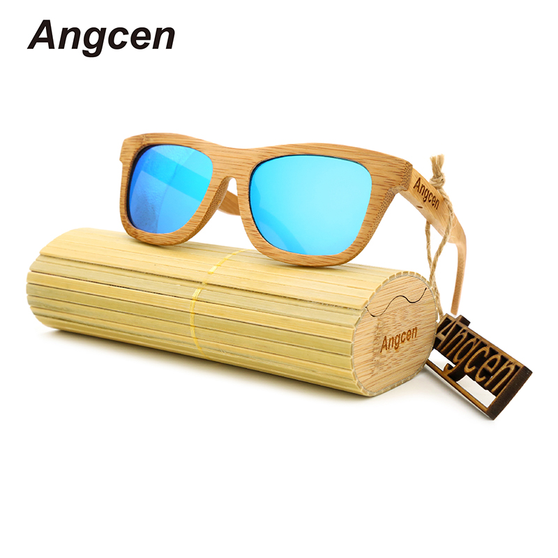 Angcen 2017 New fashion Products Men Women Glass Bamboo Sunglasses au Retro Vintage Wood Lens Wooden Frame Handmade ZA03