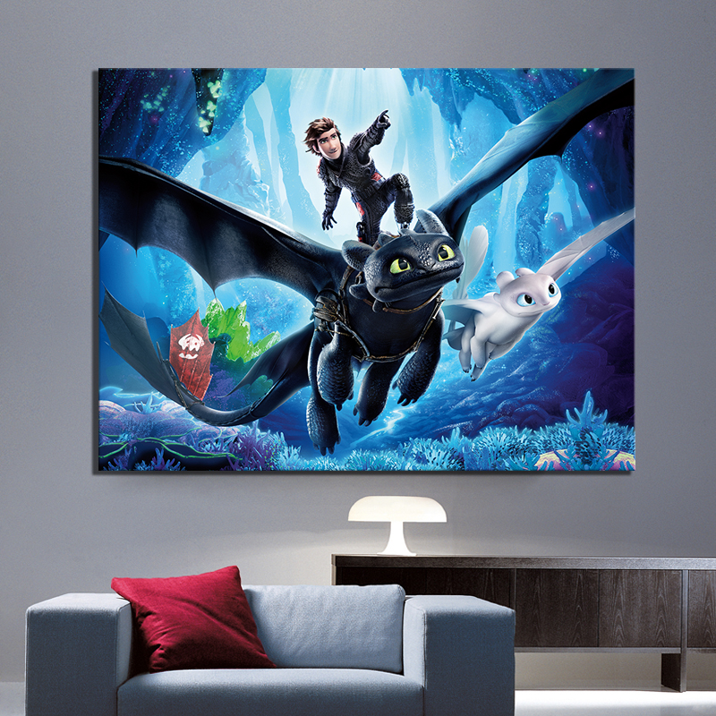 """How to Train Your Dragon 3 The Hidden World Movie Poster 24x24/"""" Art Film Print"""
