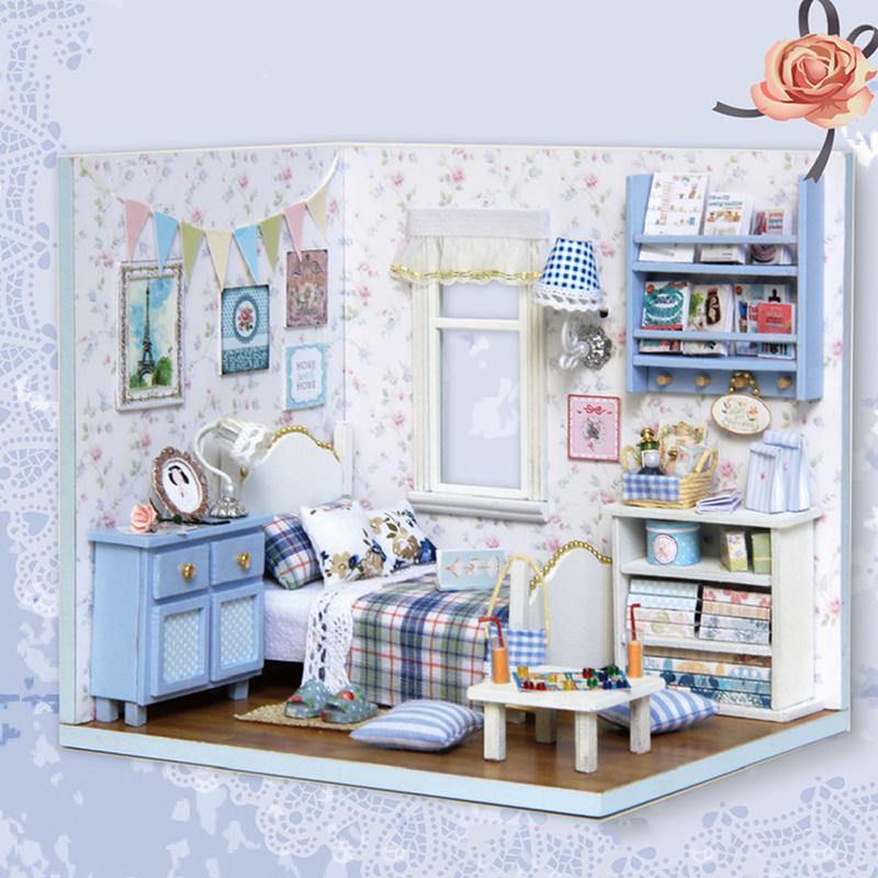 1:12 Hot Wooden Doll House Miniature Books For Dollhouse Kits Room Super  NEW