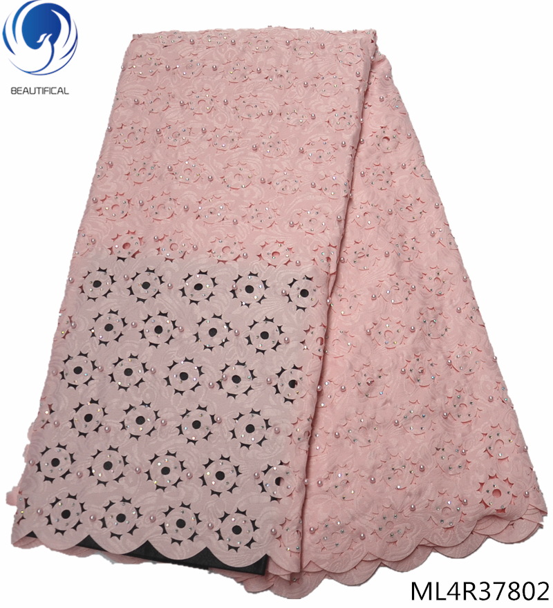 BEAUTIFICAL pink cotton lace african lace fabrics swiss voile lace high quality with beads 5yards lot free shipping ML4R378 in Lace from Home Garden