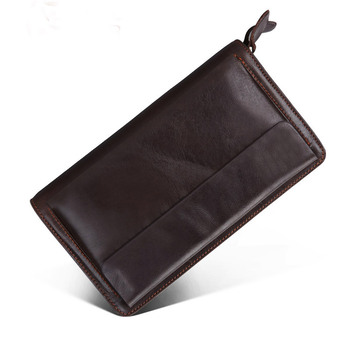 Large Capacity Genuine Leather Clutch Wallet Men Purse Double Zipper Male Leather Wristlet Handbag Wallet Long Phone Bag Clutch