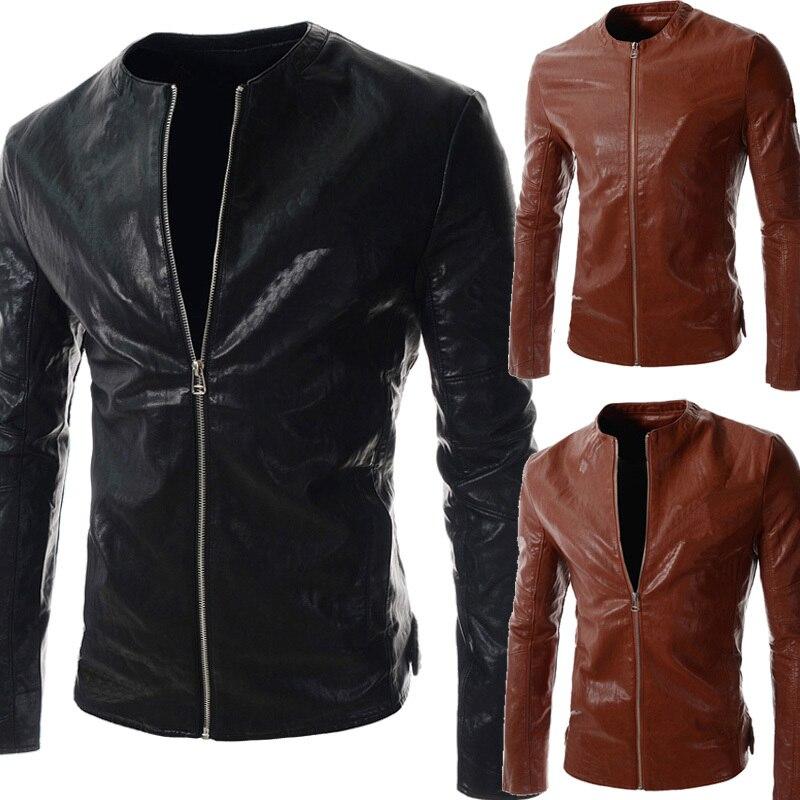 9ef32bc76 2015 autumn Slim zipper large size simple solid men PU leather ...