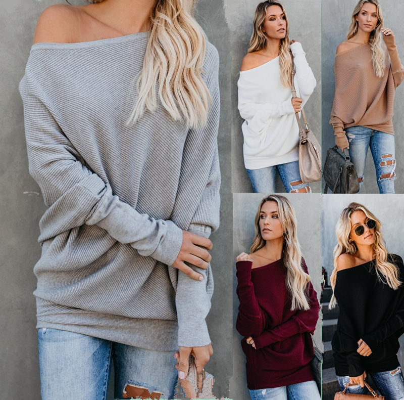 6ef1276eebba Autumn Winter Knitted Pullover Sweater Sexy One Shoulder Women Top Knitwear  Long Sleeve Sweater Women White