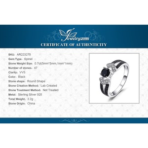Image 5 - JewelryPalace 정품 블랙 스피넬 반지 여성을위한 925 스털링 실버 반지 약혼 반지 실버 925 보석 파인 쥬얼리