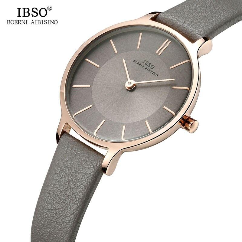 Бренд IBSO, ультратонкие кварцевые часы 8 мм, женские серые часы с кожаным ремешком, роскошные женские часы 2019 года, Montre Femme|montre brand|montre femmemontre femme watch | АлиЭкспресс