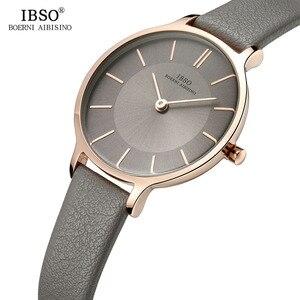 Image 1 - IBSO marka 8 MM ultra cienki zegarek kwarcowy kobiety szare skórzane damskie zegarki 2019 luksusowe panie zegarek Montre Femme