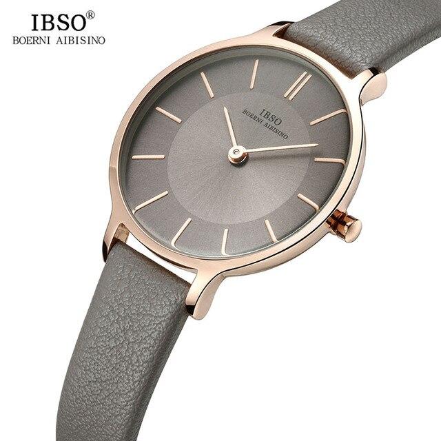 IBSO marka 8 MM ultra cienki zegarek kwarcowy kobiety szare skórzane damskie zegarki 2019 luksusowe panie zegarek Montre Femme