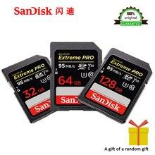 100% מקורי SanDisk Extreme PRO SDHC SDXC UHS I 32GB 64GB 128GB במהירות גבוהה זיכרון כרטיס C10 U3 v30 SD מצלמה Class 10 95 MB/s