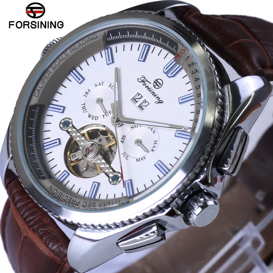 Forsining Rose gold Style Tourbillon Mechanical Men Watches Brand Men Military Sports Genuine Leather Watch Waterproof Relogio lg watch style w270 rose gold