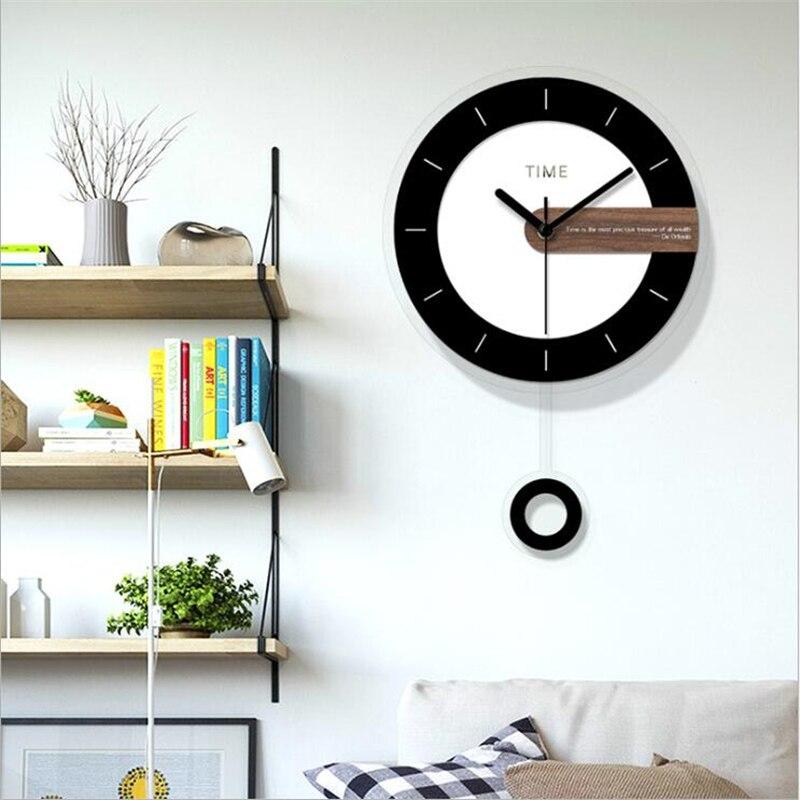 Deux-pièces horloge murale Design moderne ronde acrylique aiguille pour décoration de la maison nordique Wagtail horloge murale montre simple Face - 5