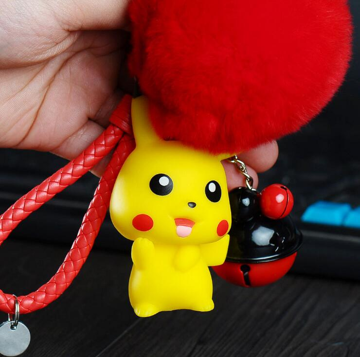 Pocket Monsters Cartoon Anime Leather Braided Rope Pokemon Fur KeyChain Small Bells Pikachu Car Bag Key Rings Holder Pendant